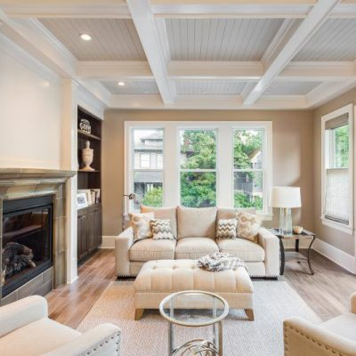Living Room Remodel with Coffered Ceiling and Built-Ins