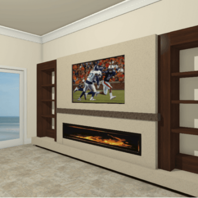 Built-Ins with Fireplace and Flat Screen TV