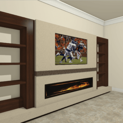 Built-Ins around TV and Fireplace