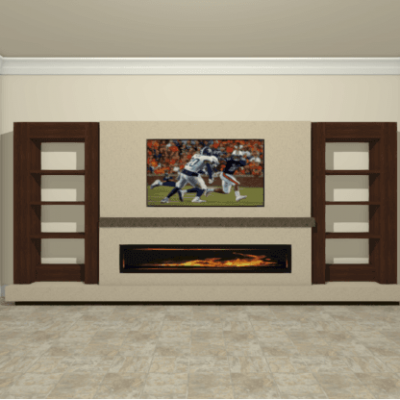 Built-Ins around TV and Gas Fireplace