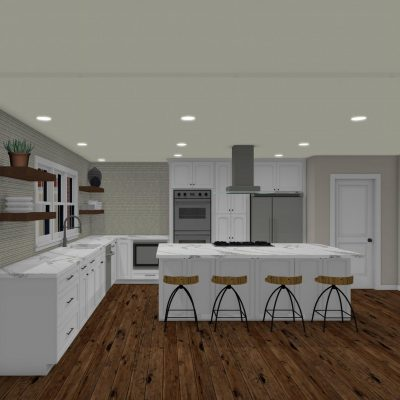 By Benchmark Design Remodel Open 3D kitchen design with floating shelves Raleigh NC