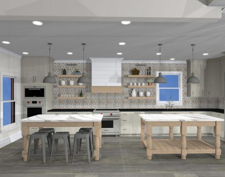 Open kitchen design with double island for food prep and entertaining
